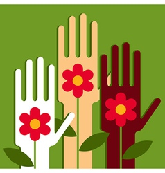 Hands with flowers vector image vector image