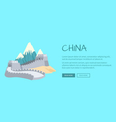 mountains great wall of china asian building vector image