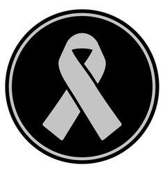 mourning ribbon black coin vector image