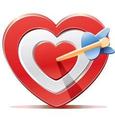 Red heart target aim with arrow vector image vector image