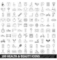 100 health and beauty icons set outline style vector