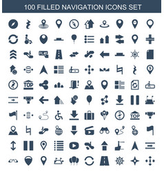 100 navigation icons vector image