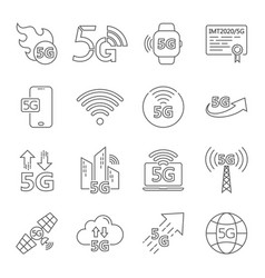 5g internet line icons set included icons as iot vector image