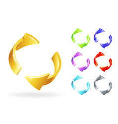 abstract golden metall rotation arrows 3d design vector image