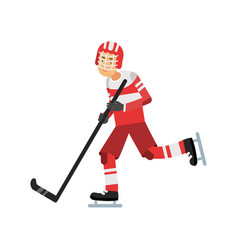 Active teen boy playing hockey ice hockey player vector