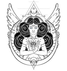 african american magic woman holding all seeing vector image