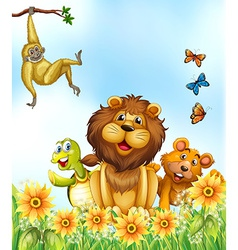 Animals and flowers vector image