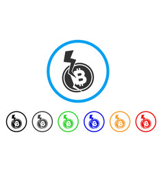 Bitcoin crash lightning rounded icon vector