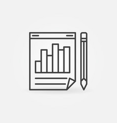 business report with pencil icon in outline vector image