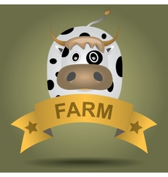 cartoon logo with a cow vector image