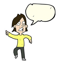 cartoon worried man pointing with speech bubble vector image