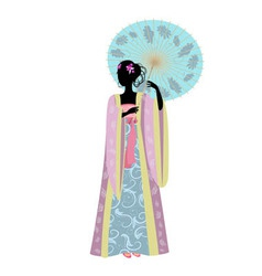 Chinese girl umbrella vector image