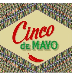 Cinco De Mayo lettering design on a ethnic vector