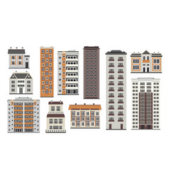 City elements of high-rise buildings in flat style vector