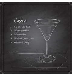coctail casino on black board vector image vector image