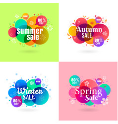 Colorful season sale banner collection vector