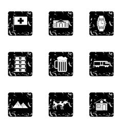 Country Switzerland icons set grunge style vector