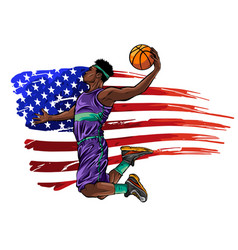 Creative a basketball player on vector