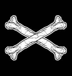 crossbones hand drawing vector image