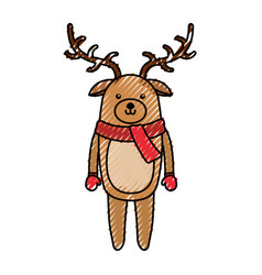 Cute scribble christmas deer cartoon vector