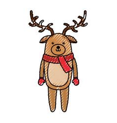Cute scribble christmas deer cartoon vector