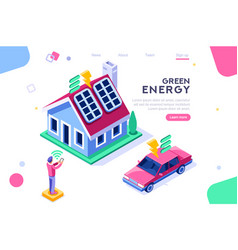 digital solar house isometric vector image