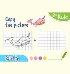 draw an whale by cells game for small children vector image