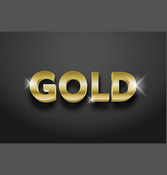 Editable 3d gold text effect vector