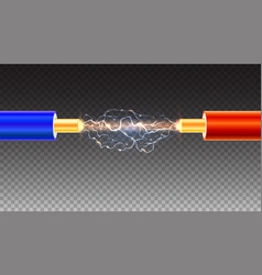 Electric cable with sparks on transparent vector