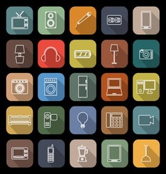 Electrical machine line flat icons with long vector