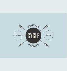 emblem bicycle shop with arrows vector image