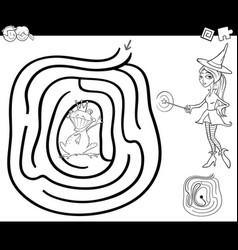 Fairy tale maze coloring page vector