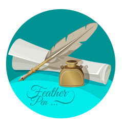 Feather pen and inkwell near paper manuscript vector