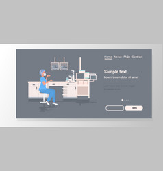 Female scientist working in medical lab woman vector