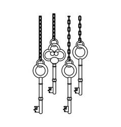 Figure old keys hanging icon vector