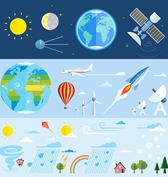 Flat icons of space and meteorological elements vector image vector image