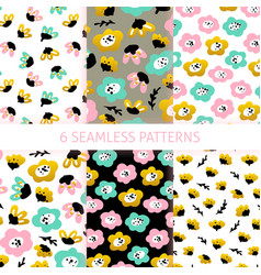 floral trendy seamless patterns vector image