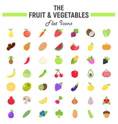 Fruit and vegetables flat icon set food symbols vector
