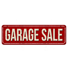 Garage sale vintage rusty metal sign vector