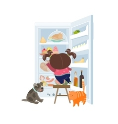 Girl taking the cake from refrigerator vector image