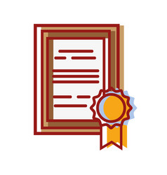 Graduation diploma certificate with wood frame vector