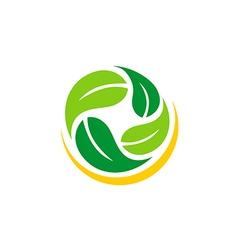 green leaf abstract vegetarian logo vector image