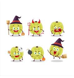 Halloween expression with cartoon slice amla vector