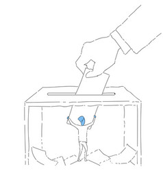 Hand putting paper in ballot box during voting vector