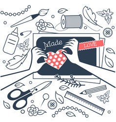 handmade crafts workshop black and white vector image
