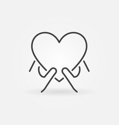 hands with heart outline icon charity linear vector image