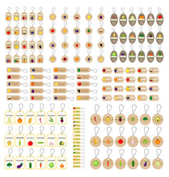 hang tag fruits and vegetables mushrooms vector image