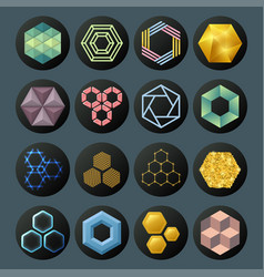 Hexagon design geometric elements honeycombs vector