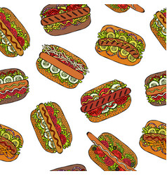 Hot dog seamless endless pattern many ingredients vector