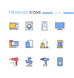 Household and office appliances computers - line vector